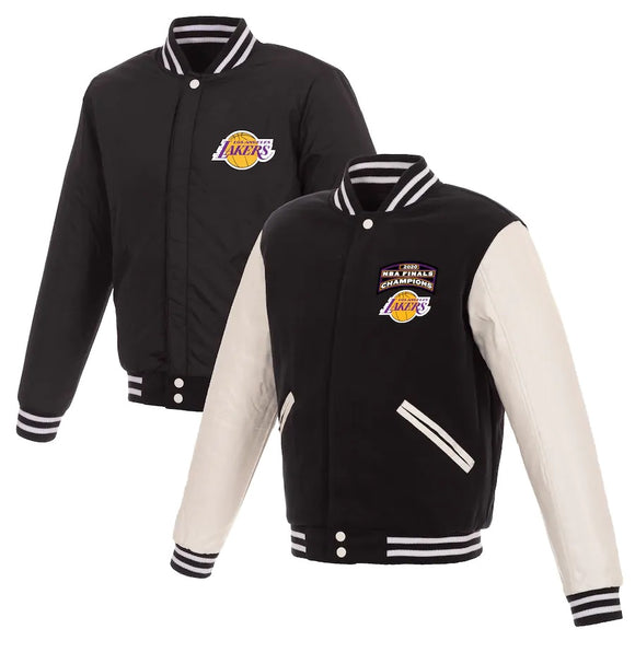 Los Angeles Lakers JH Design 2020 NBA Finals Champions Reversible Full-Snap Jacket - Black/White - JH Design
