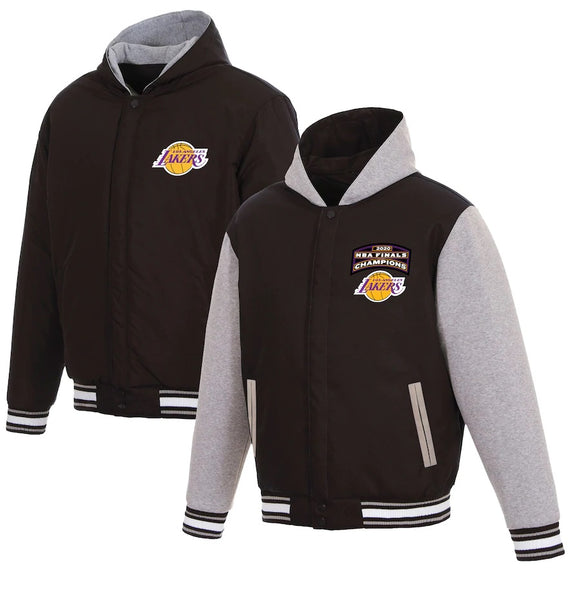 Los Angeles Lakers JH Design 2020 NBA Finals Champions Reversible Poly-Twill Fleece Full-Snap Hooded Jacket - Charcoal - JH Design