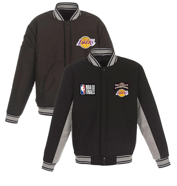 Los Angeles Lakers JH Design 17-Time NBA Finals Champions Wool Reversible Full-Snap Jacket - Charcoal - JH Design