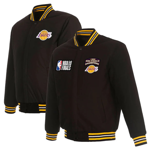 Los Angeles Lakers JH Design 17-Time NBA Finals Champions Wool Reversible Full-Snap Jacket - Black - JH Design