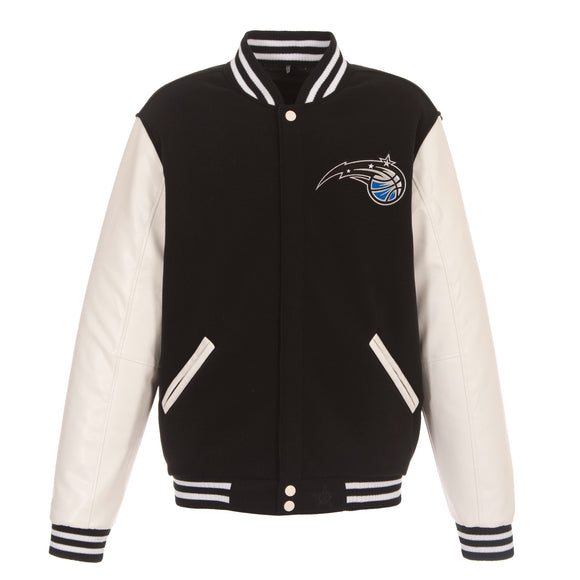 Orlando Magic - JH Design Reversible Fleece Jacket with Faux Leather Sleeves - Black/White - JH Design
