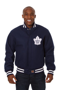 Toronto Maple Leafs Embroidered Wool Jacket - Navy - JH Design