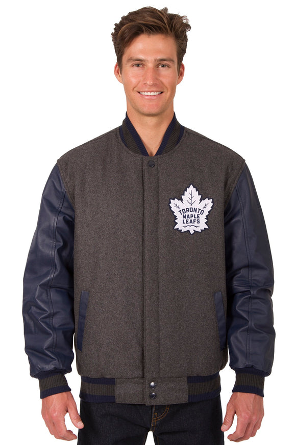 Toronto Maple Leafs Wool & Leather Reversible Jacket w/ Embroidered Logos - Charcoal/Navy - JH Design