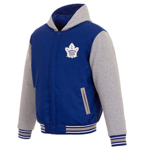 Toronto Maple Leafs Two-Tone Reversible Fleece Hooded Jacket - Royal/Grey - JH Design