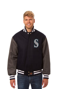 Seattle Mariners Two-Tone Wool Jacket w/ Handcrafted Leather Logos - Navy/Gray - JH Design