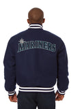 Seattle Mariners Wool Jacket w/ Handcrafted Leather Logos - Navy - JH Design