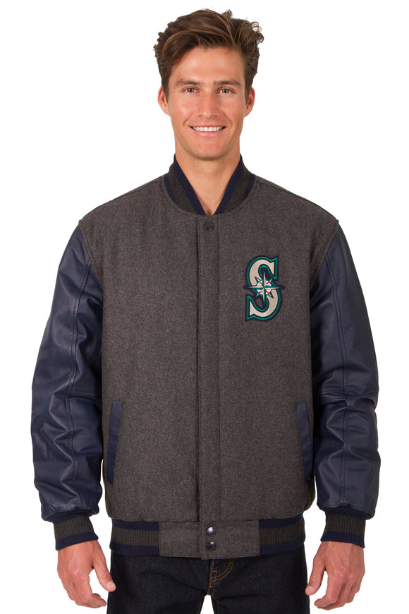 Seattle Mariners Wool & Leather Reversible Jacket w/ Embroidered Logos - Charcoal/Navy