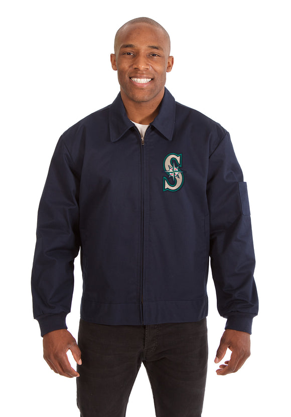 Seattle Mariners Cotton Twill Workwear Jacket - Navy - JH Design