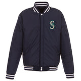 Seattle Mariners - JH Design Reversible Fleece Jacket with Faux Leather Sleeves - Navy/White - JH Design
