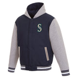 Seattle Mariners Two-Tone Reversible Fleece Hooded Jacket - Navy/Grey - JH Design