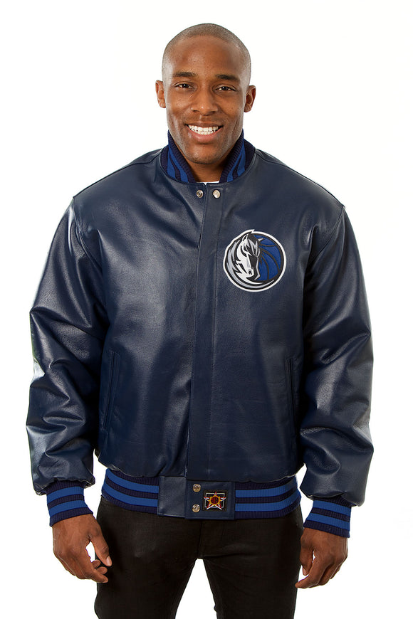 Dallas Mavericks Full Leather Jacket - Navy