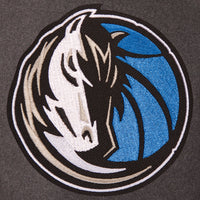 Dallas Mavericks Wool & Leather Reversible Jacket w/ Embroidered Logos - Charcoal/Navy