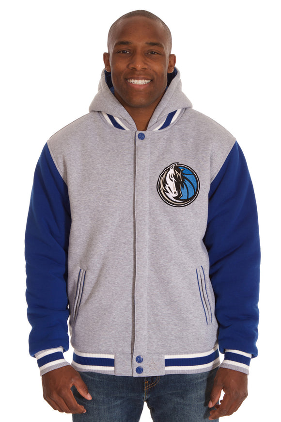 Dallas Mavericks Two-Tone Reversible Fleece Hooded Jacket - Gray/Royal