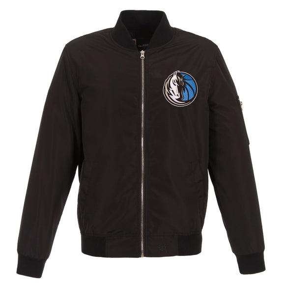 Dallas Mavericks JH Design Lightweight Nylon Bomber Jacket – Black