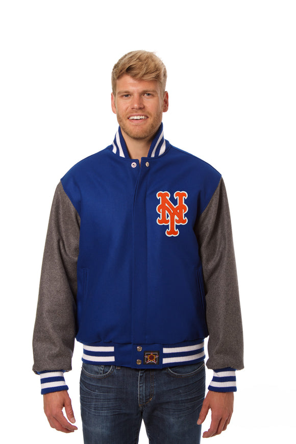 New York Mets Two-Tone Wool Jacket w/ Handcrafted Leather Logos - Royal/Gray - JH Design