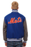 New York Mets Embroidered Wool Jacket - Royal/Charcoal - JH Design