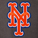 New York Mets Wool & Leather Reversible Jacket w/ Embroidered Logos - Charcoal/Black - JH Design