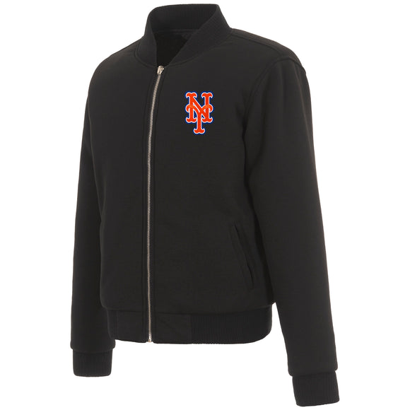 New York Mets JH Design Reversible Women Fleece Jacket - Black - JH Design