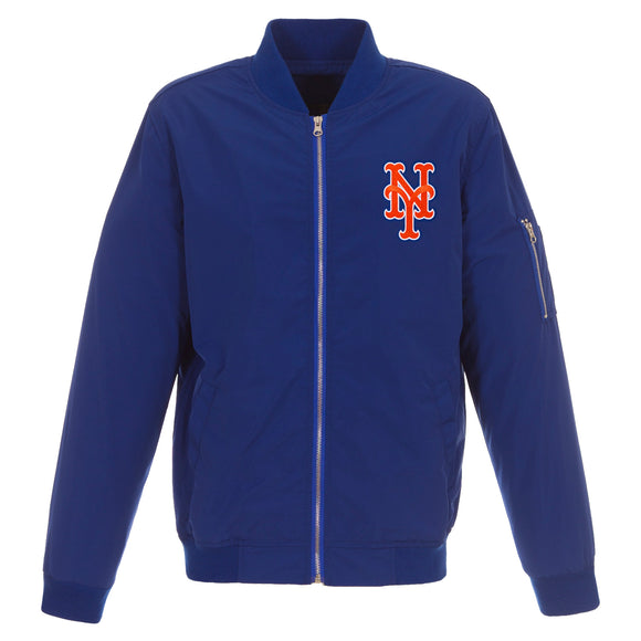 New York Mets JH Design Lightweight Nylon Bomber Jacket – Royal