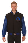 Dodge Mopar Embroidered Wool & Leather Jacket - Black/Royal