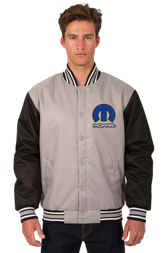 Mopar Poly Twill Varsity Jacket - Gray/Black - JH Design