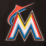 Miami Marlins Wool & Leather Reversible Jacket w/ Embroidered Logos - Black - JH Design
