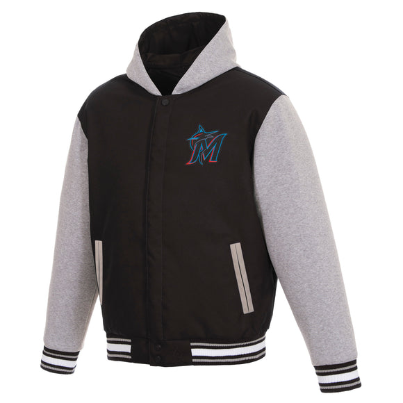 Miami Marlins Two-Tone Reversible Fleece Hooded Jacket - Black/Grey - JH Design