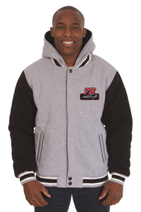 Martin Truex Jr. Two-Tone Reversible Fleece Hooded Jacket - Gray/Black - JH Design
