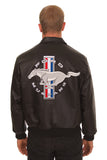Ford Mustang Embroidered Leather Bomber Jacket - Black - JH Design