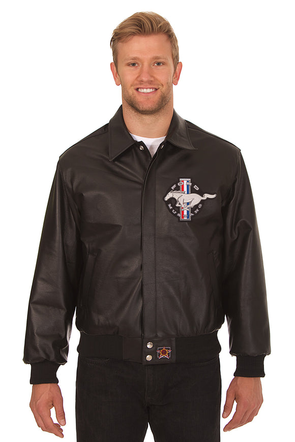 Ford Mustang Embroidered Leatherer Jacket Black