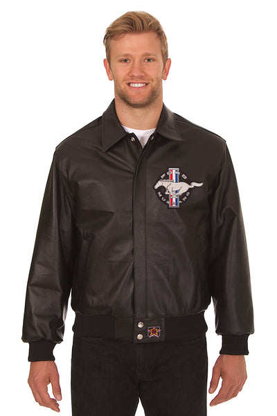Ford Mustang Embroidered Leather Bomber Jacket - Black