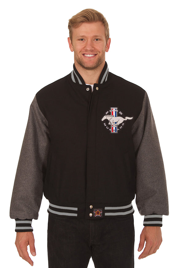 Ford Mustang Embroidered Wool Jacket - Black/Grey - JH Design