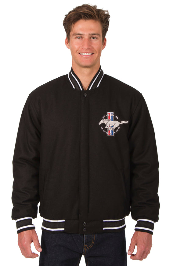 Mustang Wool Varsity Jacket - Black - JH Design