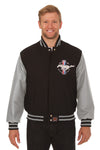 Ford Mustang Embroidered Wool & Leather Jacket - Black/Grey