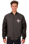 Mustang Wool & Leather Reversible Varsity Jacket - Charcoal/Black