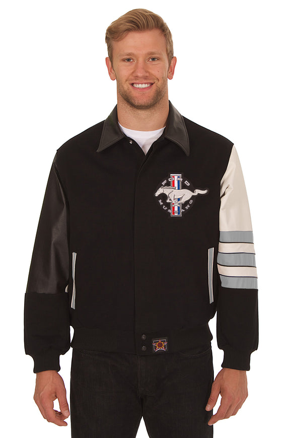 Ford Mustang Embroidered Wool & Leather Jacket - Black/Grey - JH Design
