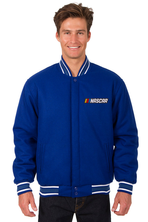 NASCAR Wool Varsity Jacket - Royal - JH Design