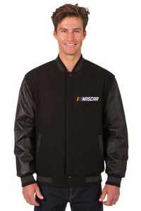 NASCAR Wool & Leather Varsity Jacket - Black - JH Design