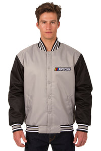 NASCAR Poly Twill Varsity Jacket - Gray/Black
