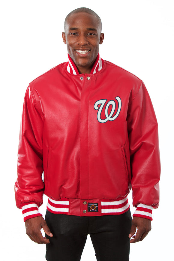 Washington Nationals Full Leather Jacket - Red - JH Design