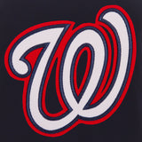 Washington Nationals - JH Design Reversible Fleece Jacket with Faux Leather Sleeves - Navy/White - JH Design