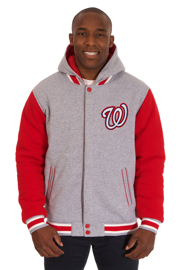 Washington Nationals Two-Tone Reversible Fleece Hooded Jacket - Gray/Red