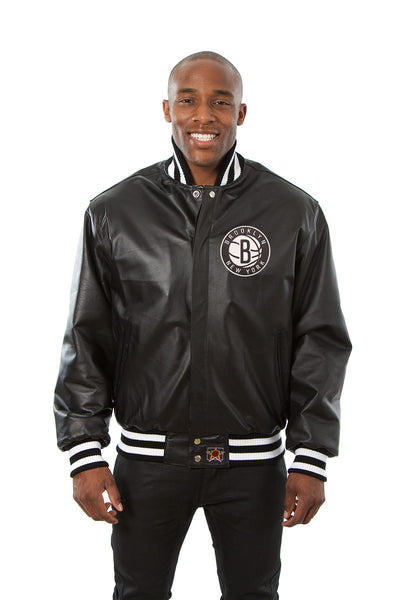 Brooklyn Nets Full Leather Jacket - Black