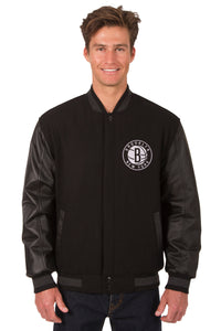 Brooklyn Nets Wool & Leather Reversible Jacket w/ Embroidered Logos - Black - JH Design