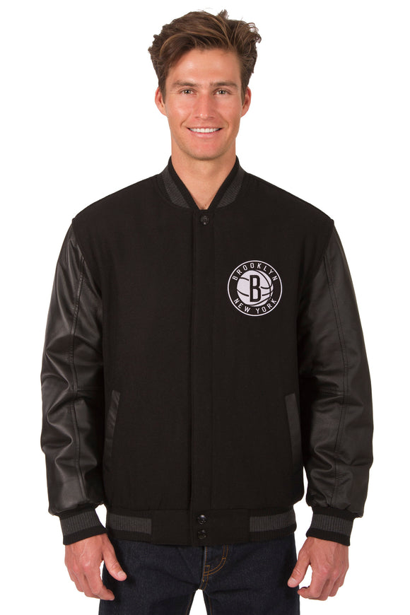 Brooklyn Nets Wool & Leather Reversible Jacket w/ Embroidered Logos - Black