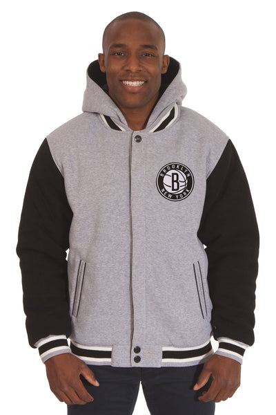 Brooklyn Nets Two-Tone Reversible Fleece Hooded Jacket - Gray/Black