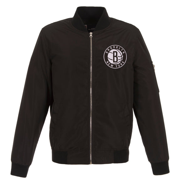 Brooklyn Nets JH Design Lightweight Nylon Bomber Jacket – Black - JH Design