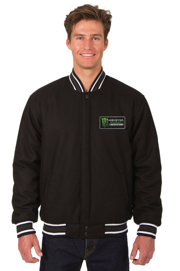 Monster Energy NASCAR Cup Series Wool Varsity Jacket - Black - JH Design