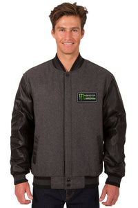 Monster Energy NASCAR Cup Series Wool & Leather Varsity Jacket - Charcoal/Black - JH Design