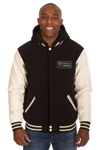 Monster Energy NASCAR Cup Series Two-Tone Reversible Fleece & PU Leather Hooded Jacket - Black/Cream